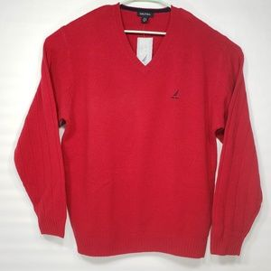 NWT Nautica V Neck Wool Sweater Size XL Red